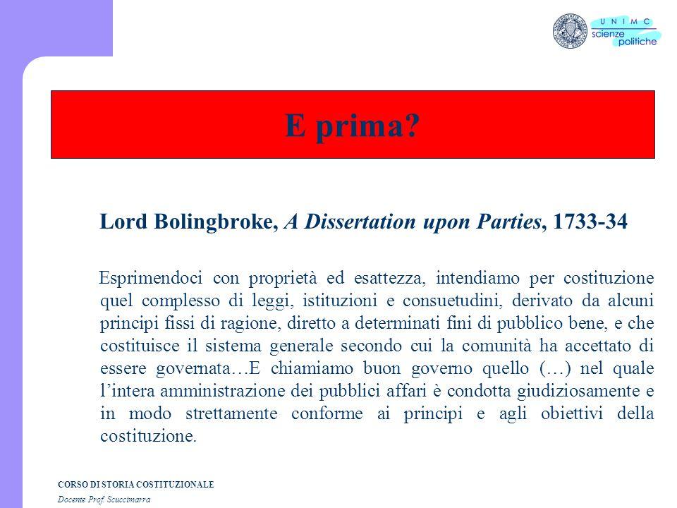 CORSO DI STORIA COSTITUZIONALE Docente Prof.