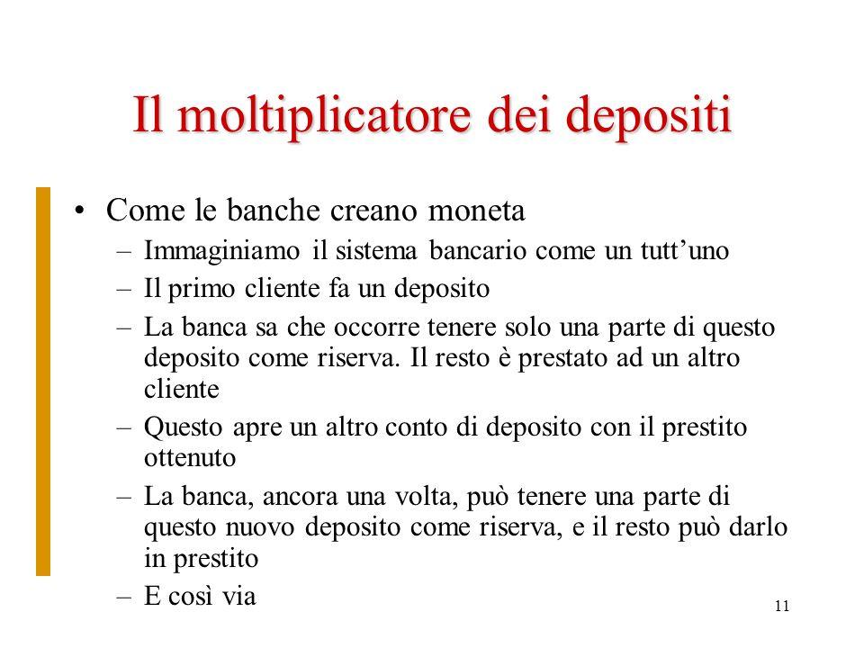 11 Il moltiplicatore dei depositi Come le banche creano moneta –Immaginiamo il sistema bancario come un tuttuno –Il primo cliente fa un deposito –La b