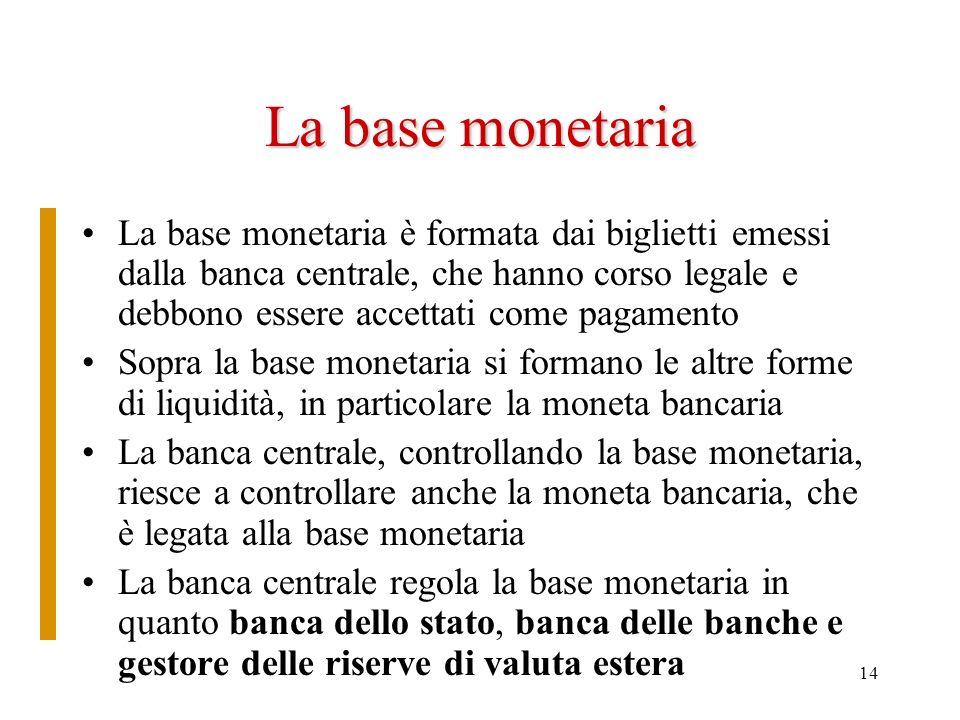 14 La base monetaria La base monetaria è formata dai biglietti emessi dalla banca centrale, che hanno corso legale e debbono essere accettati come pag