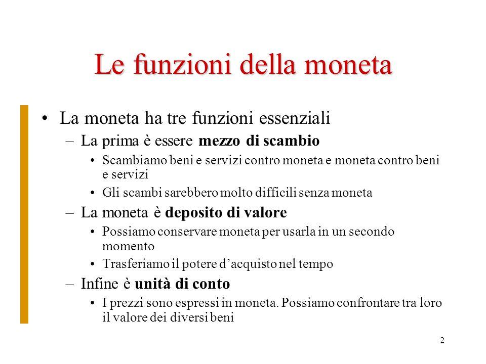 2 Le funzioni della moneta La moneta ha tre funzioni essenziali –La prima è essere mezzo di scambio Scambiamo beni e servizi contro moneta e moneta co