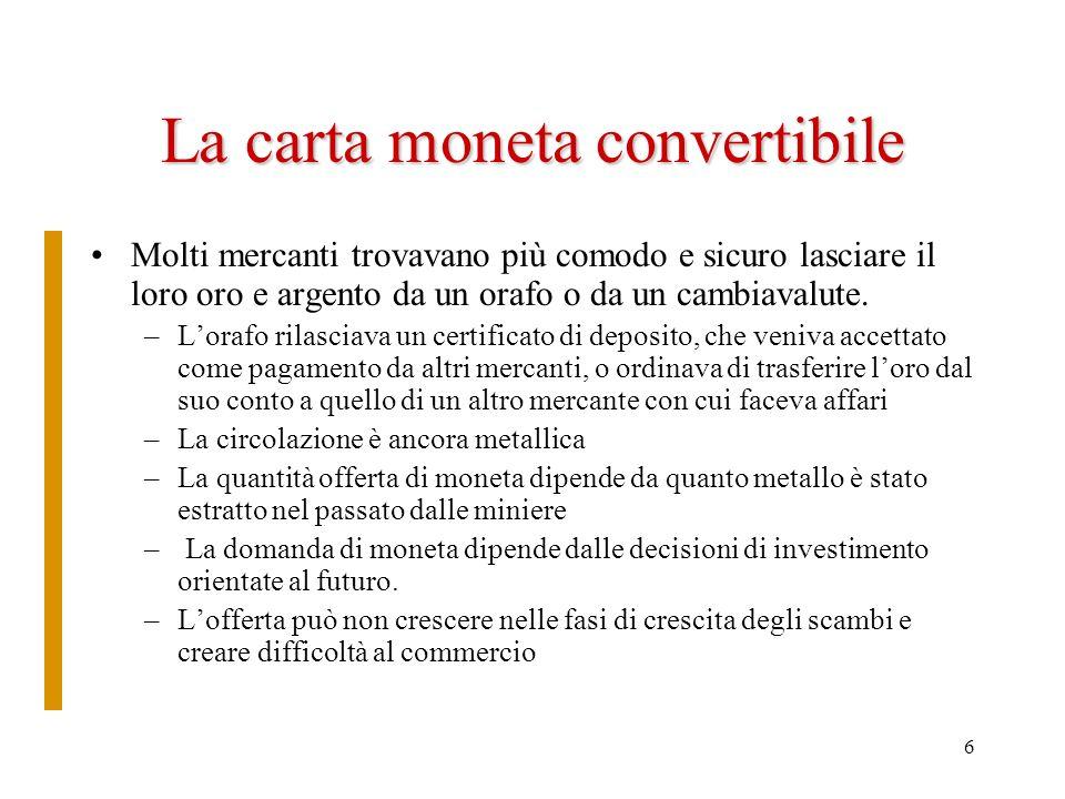 6 La carta moneta convertibile Molti mercanti trovavano più comodo e sicuro lasciare il loro oro e argento da un orafo o da un cambiavalute. –Lorafo r