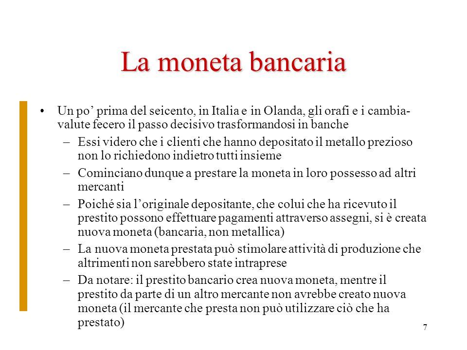 7 La moneta bancaria Un po prima del seicento, in Italia e in Olanda, gli orafi e i cambia- valute fecero il passo decisivo trasformandosi in banche –