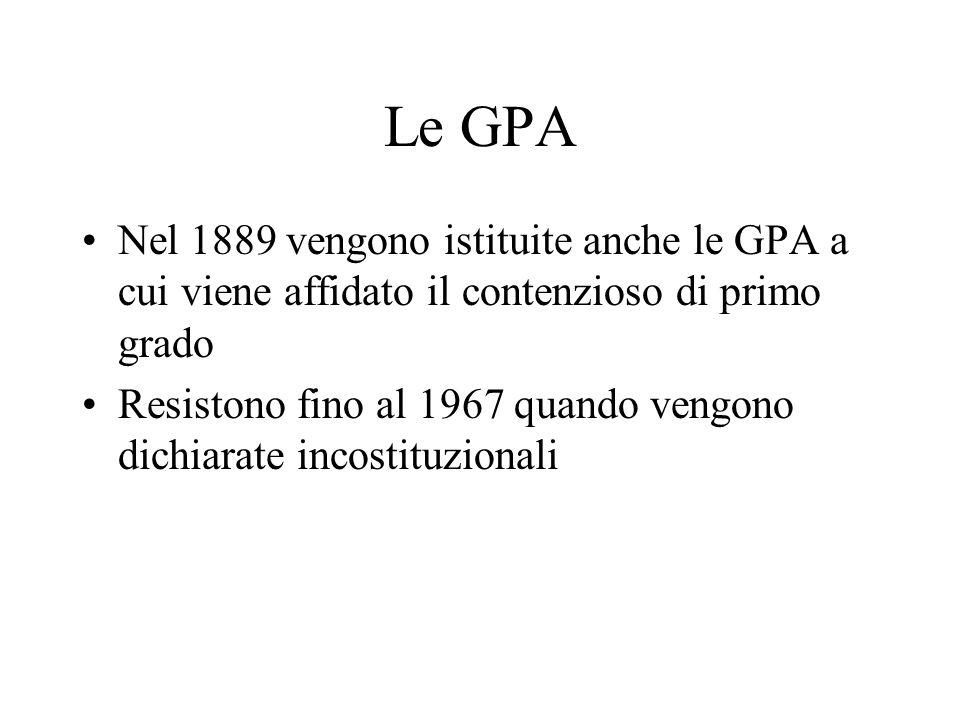 Le GPA Nel 1889 vengono istituite anche le GPA a cui viene affidato il contenzioso di primo grado Resistono fino al 1967 quando vengono dichiarate inc
