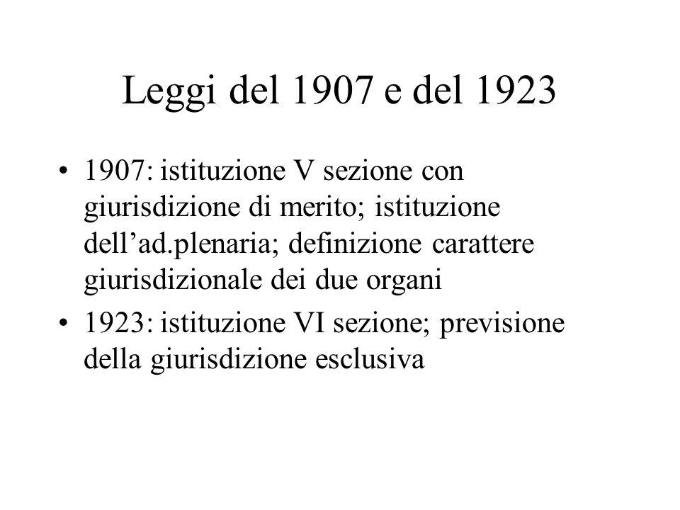 Leggi del 1907 e del 1923 1907: istituzione V sezione con giurisdizione di merito; istituzione dellad.plenaria; definizione carattere giurisdizionale