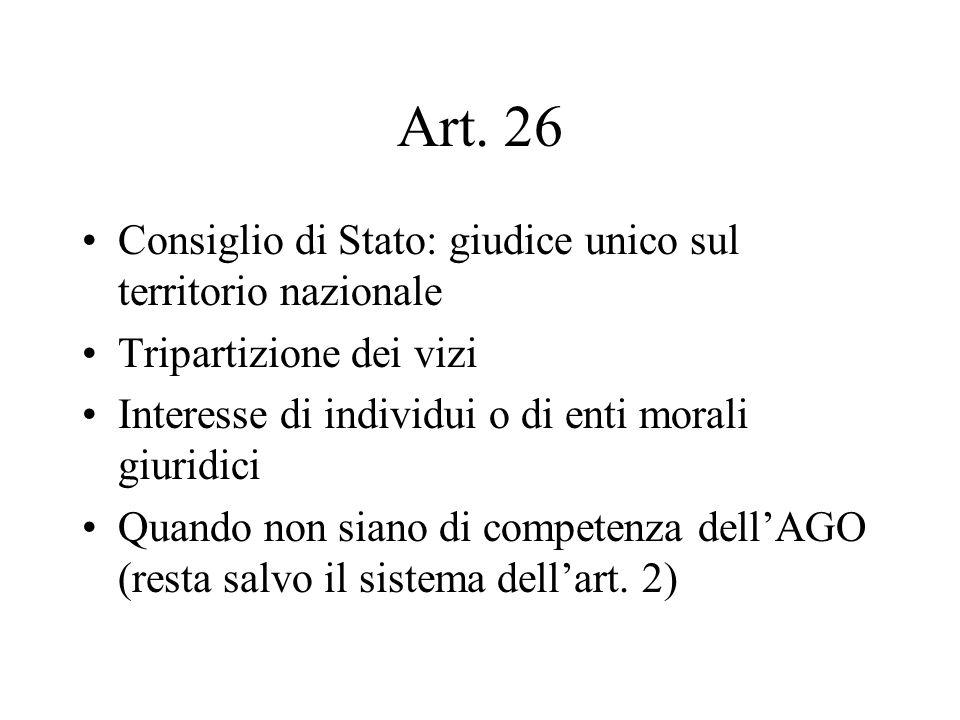 Art. 26 Consiglio di Stato: giudice unico sul territorio nazionale Tripartizione dei vizi Interesse di individui o di enti morali giuridici Quando non