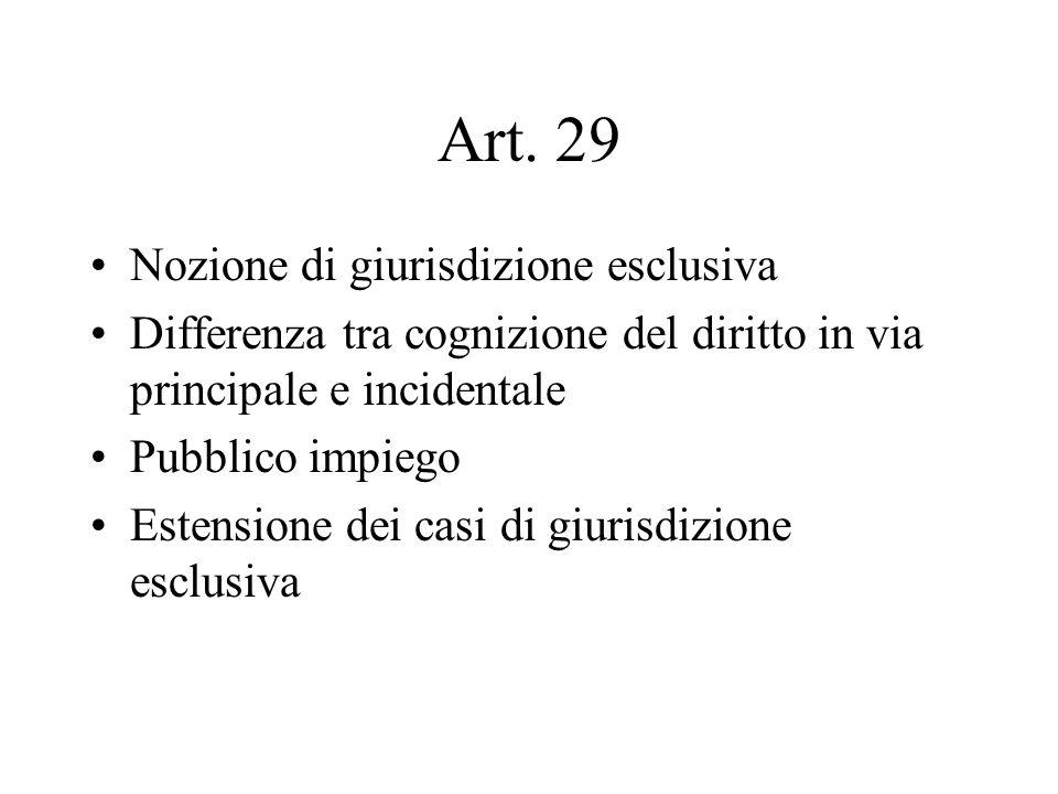 Art. 29 Nozione di giurisdizione esclusiva Differenza tra cognizione del diritto in via principale e incidentale Pubblico impiego Estensione dei casi