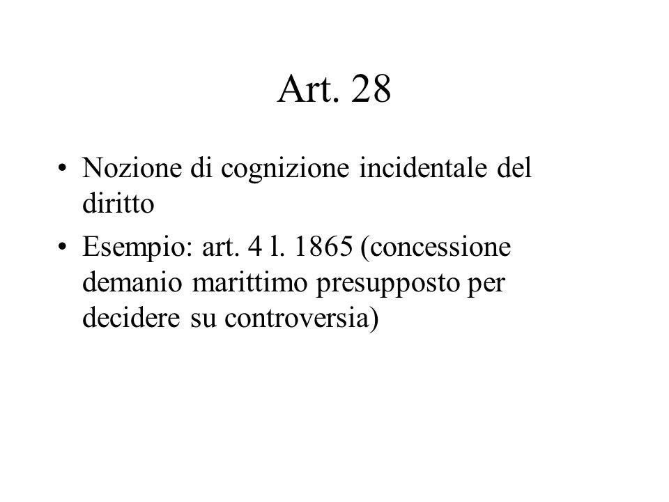 Art. 28 Nozione di cognizione incidentale del diritto Esempio: art. 4 l. 1865 (concessione demanio marittimo presupposto per decidere su controversia)