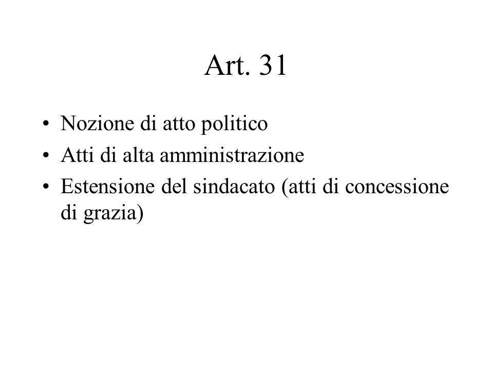 Art. 31 Nozione di atto politico Atti di alta amministrazione Estensione del sindacato (atti di concessione di grazia)