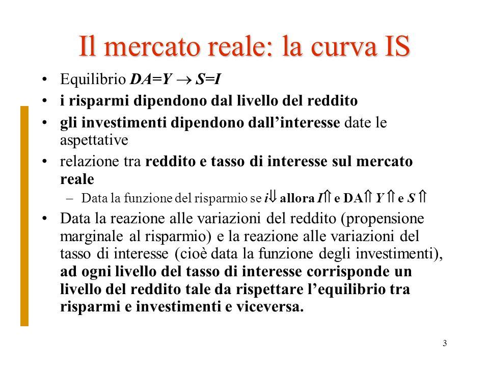 4 La formalizzazione della IS La relazione che lega i a Y mercato reale è una relazione inversamente proporzionale: a tassi di interesse più bassi corrispondono livelli del reddito più alti, dato che aumentano gli investimenti La curva IS rappresenta tutti i possibili punti di equilibrio tra i e Y quando i risparmi sono uguali agli investimenti sul mercato reale 1) S = sY 2) I = A-bi (A=aspettative; b=reattività di I alla variazione di i) Equilibrio: S=I 3) sY=A-bi Equazione di una retta decrescente
