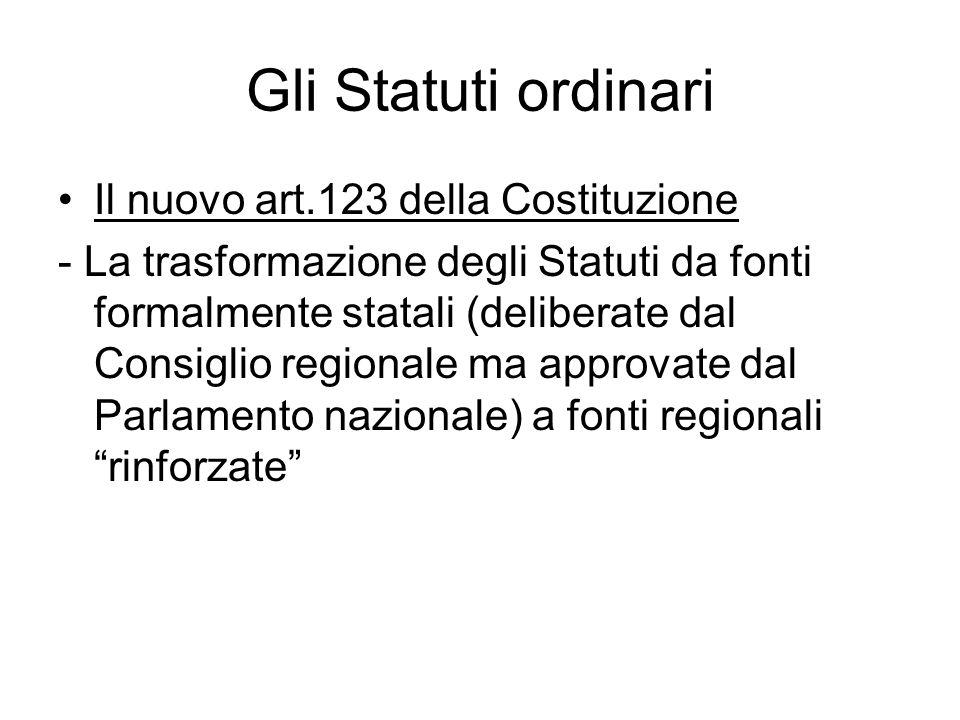 Gli Statuti ordinari Il nuovo art.123 della Costituzione - La trasformazione degli Statuti da fonti formalmente statali (deliberate dal Consiglio regi