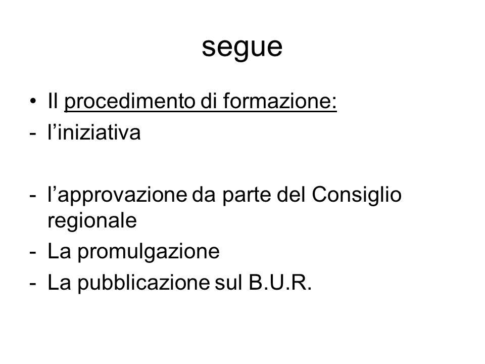 segue Il procedimento di formazione: -liniziativa -lapprovazione da parte del Consiglio regionale -La promulgazione -La pubblicazione sul B.U.R.