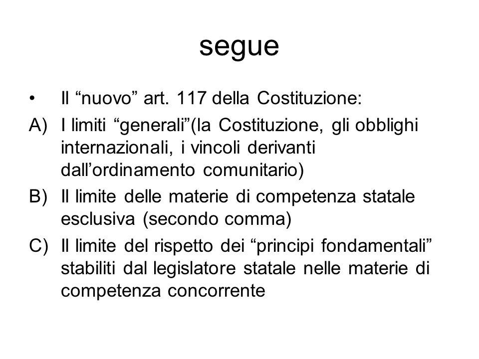 segue Il nuovo art. 117 della Costituzione: A)I limiti generali(la Costituzione, gli obblighi internazionali, i vincoli derivanti dallordinamento comu