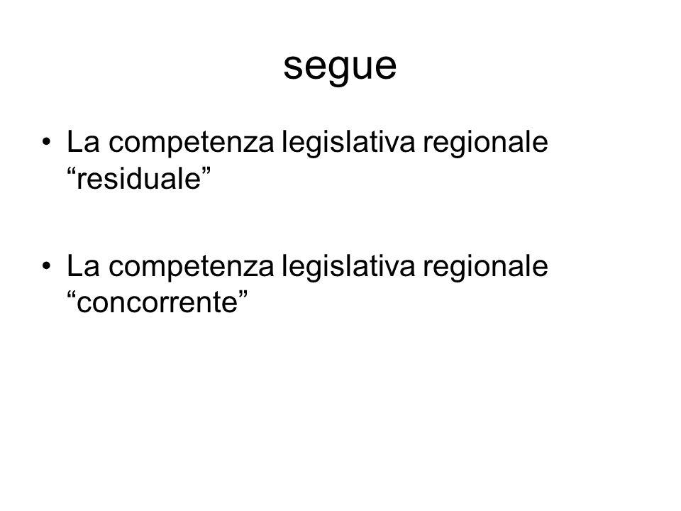 segue La competenza legislativa regionale residuale La competenza legislativa regionale concorrente