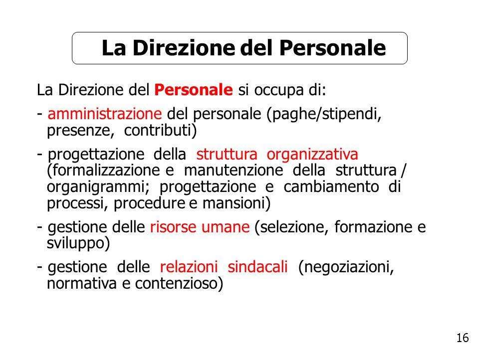 16 La Direzione del Personale si occupa di: - amministrazione del personale (paghe/stipendi, presenze, contributi) - progettazione della struttura org