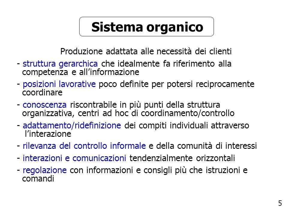 5 Sistema organico Produzione adattata alle necessità dei clienti - struttura gerarchica che idealmente fa riferimento alla competenza e allinformazio