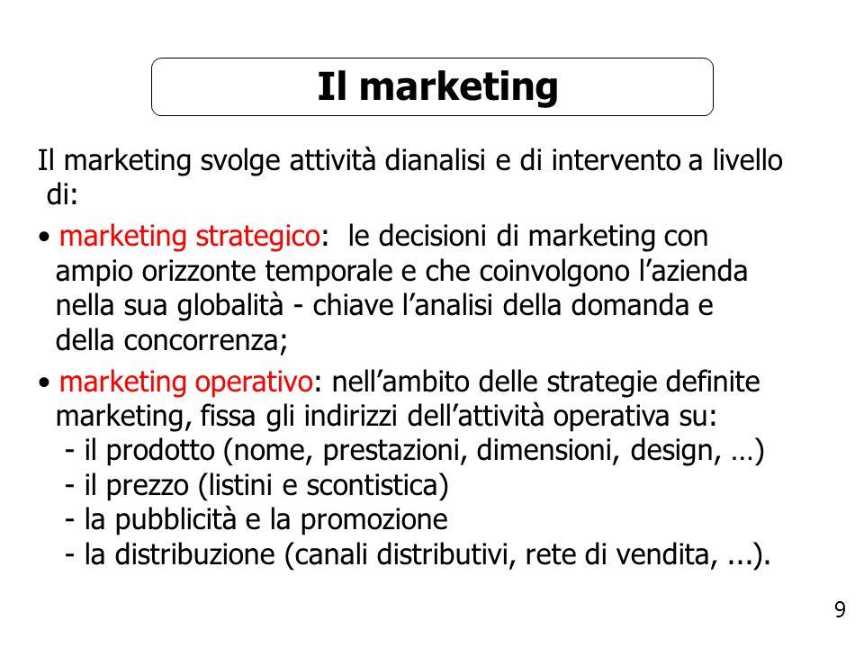 9 Il marketing Il marketing svolge attività dianalisi e di intervento a livello di: marketing strategico: le decisioni di marketing con ampio orizzont