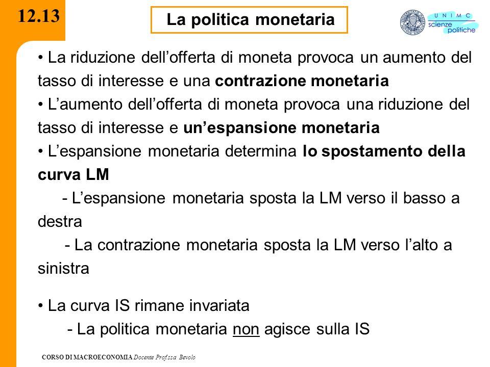 CORSO DI MACROECONOMIA Docente Prof.ssa Bevolo 12.13 La politica monetaria La riduzione dellofferta di moneta provoca un aumento del tasso di interess