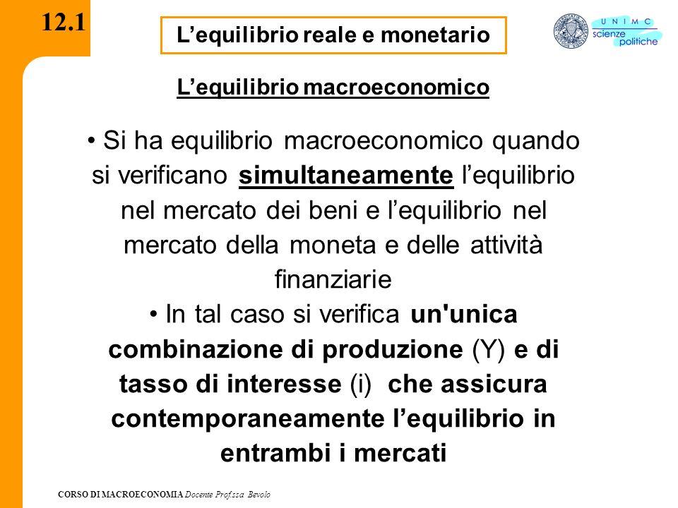 CORSO DI MACROECONOMIA Docente Prof.ssa Bevolo 12.2 IS-LM Ogni punto della curva IS corrisponde allequilibrio nel mercato dei beni IS: Y = C (Y-T) + I (Y, i) + G Ogni punto della curva LM corrisponde allequilibrio sui mercati finanziari M LM: ____ P = YL (i)