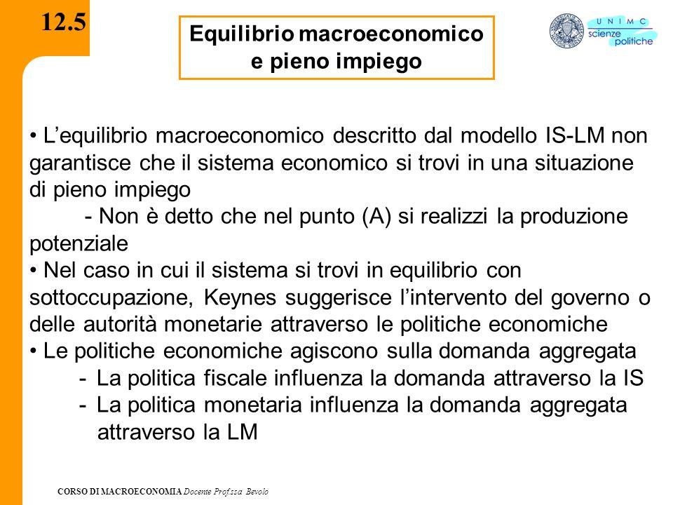 CORSO DI MACROECONOMIA Docente Prof.ssa Bevolo 12.5 Equilibrio macroeconomico e pieno impiego Lequilibrio macroeconomico descritto dal modello IS-LM n