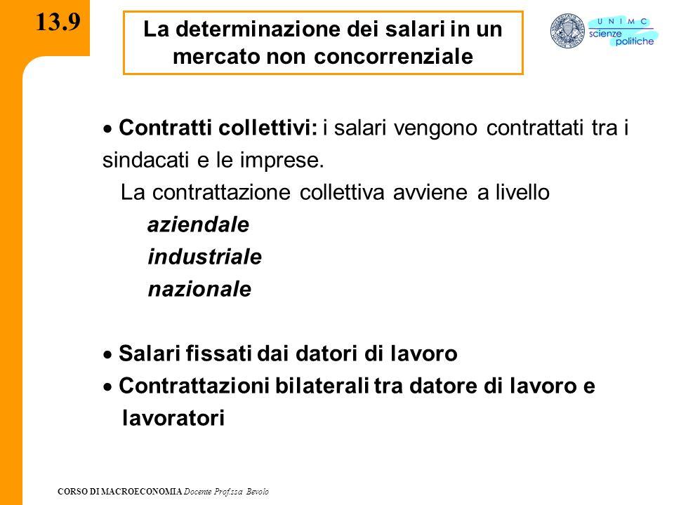 CORSO DI MACROECONOMIA Docente Prof.ssa Bevolo 13.9 La determinazione dei salari in un mercato non concorrenziale Contratti collettivi: i salari vengo