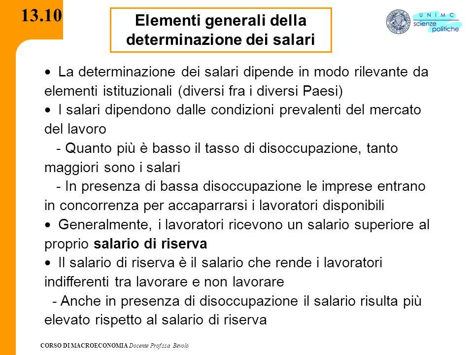 CORSO DI MACROECONOMIA Docente Prof.ssa Bevolo 13.10 Elementi generali della determinazione dei salari La determinazione dei salari dipende in modo ri