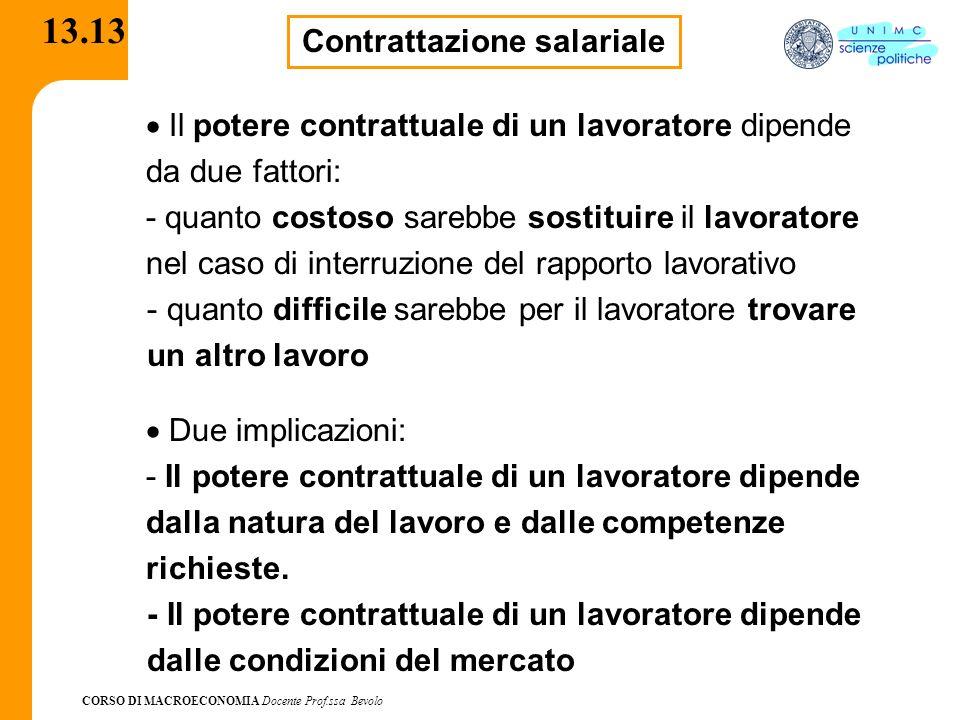 CORSO DI MACROECONOMIA Docente Prof.ssa Bevolo 13.13 Contrattazione salariale Il potere contrattuale di un lavoratore dipende da due fattori: - quanto