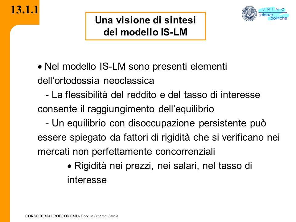 CORSO DI MACROECONOMIA Docente Prof.ssa Bevolo 13.1.1 Una visione di sintesi del modello IS-LM Nel modello IS-LM sono presenti elementi dellortodossia