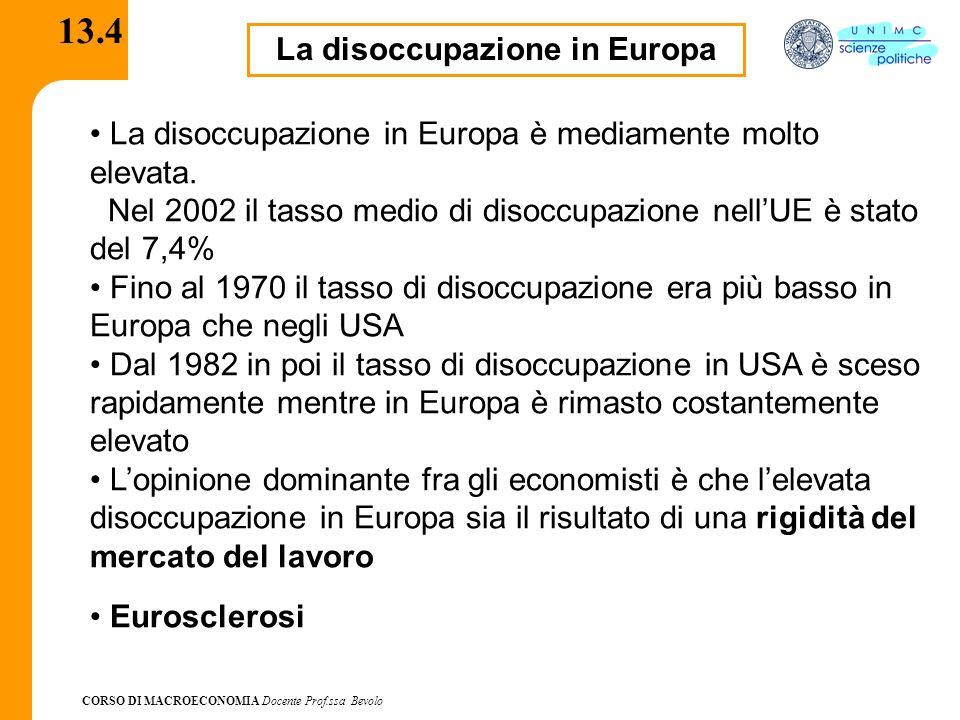 CORSO DI MACROECONOMIA Docente Prof.ssa Bevolo 13.4 La disoccupazione in Europa La disoccupazione in Europa è mediamente molto elevata. Nel 2002 il ta