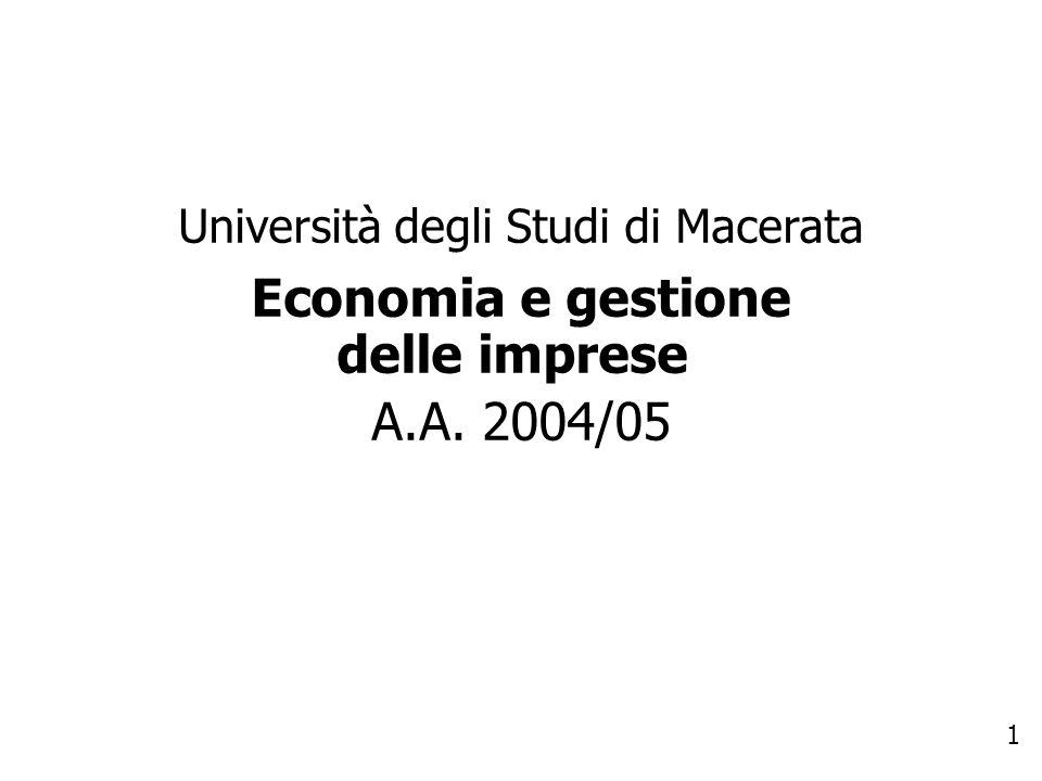 1 Università degli Studi di Macerata Economia e gestione delle imprese A.A. 2004/05