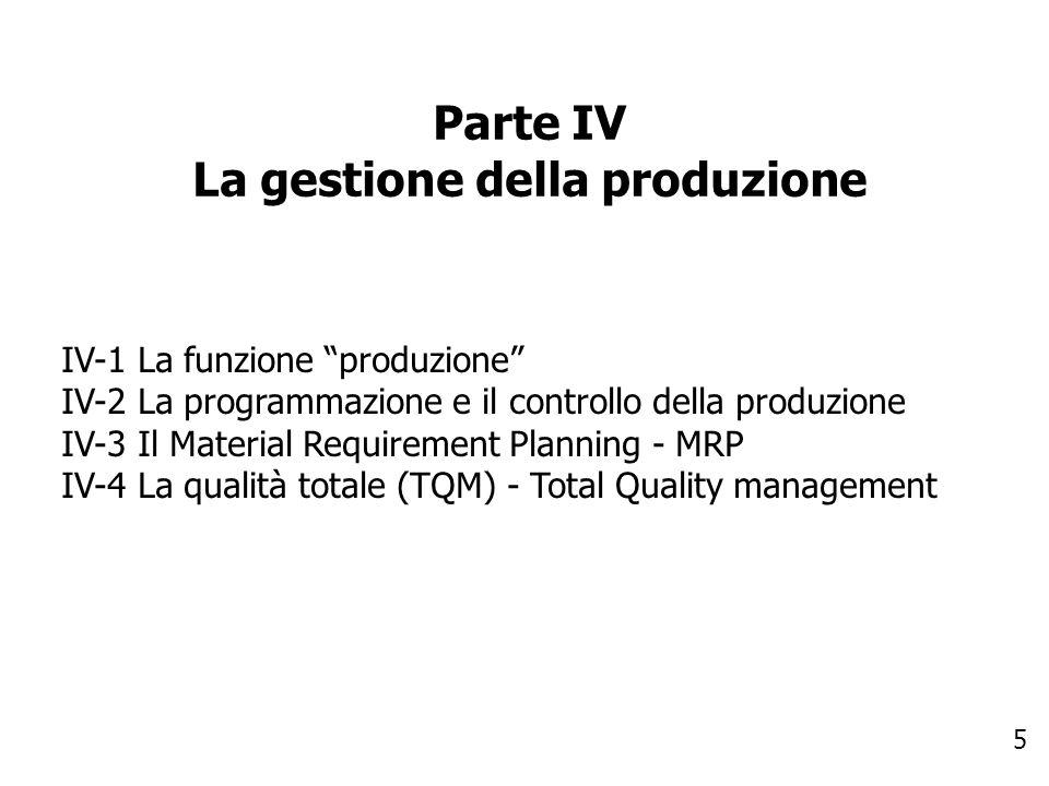 5 Parte IV La gestione della produzione IV-1 La funzione produzione IV-2 La programmazione e il controllo della produzione IV-3 Il Material Requiremen