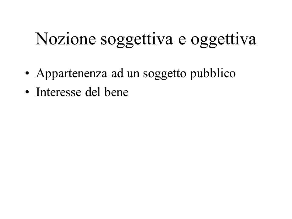 Nozione soggettiva e oggettiva Appartenenza ad un soggetto pubblico Interesse del bene