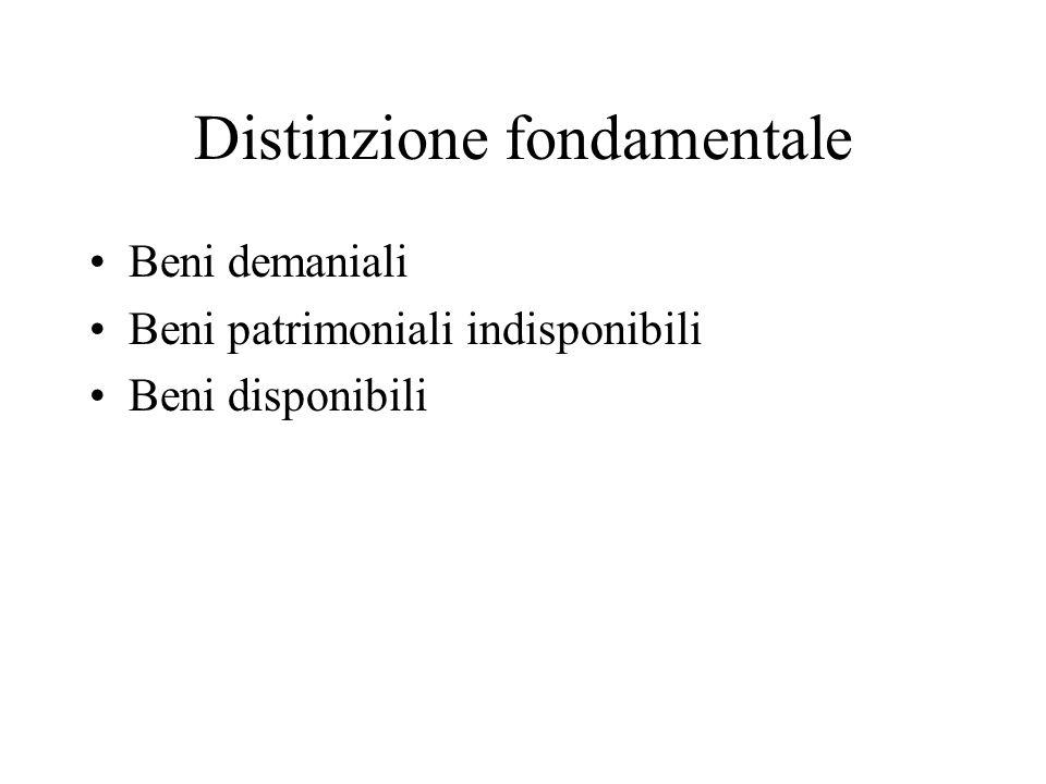 Distinzione fondamentale Beni demaniali Beni patrimoniali indisponibili Beni disponibili