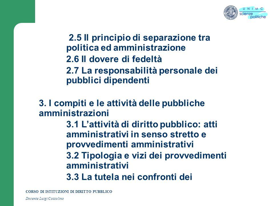 CORSO DI ISTITUZIONI DI DIRITTO PUBBLICO Docente Luigi Cozzolino provvedimenti amministrativi 3.4 Il procedimento amministrativo 3.5 Lattività di diritto privato delle pubbliche amministrazioni: contratti ordinari, contratti speciali e contratti ad evidenza pubblica