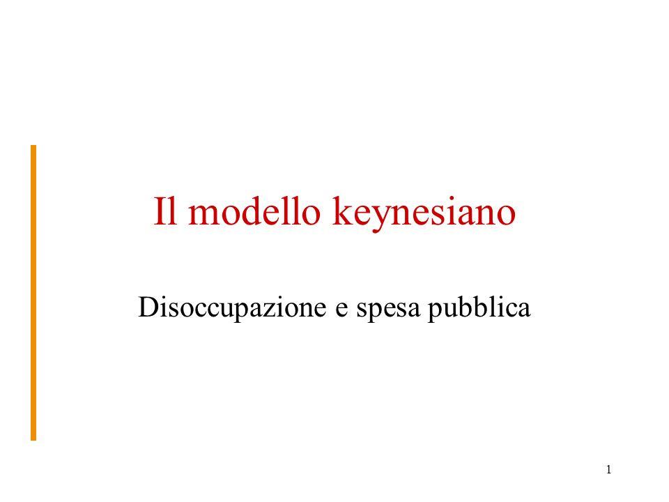 1 Il modello keynesiano Disoccupazione e spesa pubblica