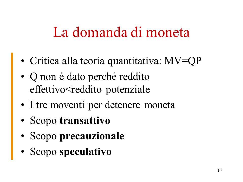 17 La domanda di moneta Critica alla teoria quantitativa: MV=QP Q non è dato perché reddito effettivo<reddito potenziale I tre moventi per detenere moneta Scopo transattivo Scopo precauzionale Scopo speculativo