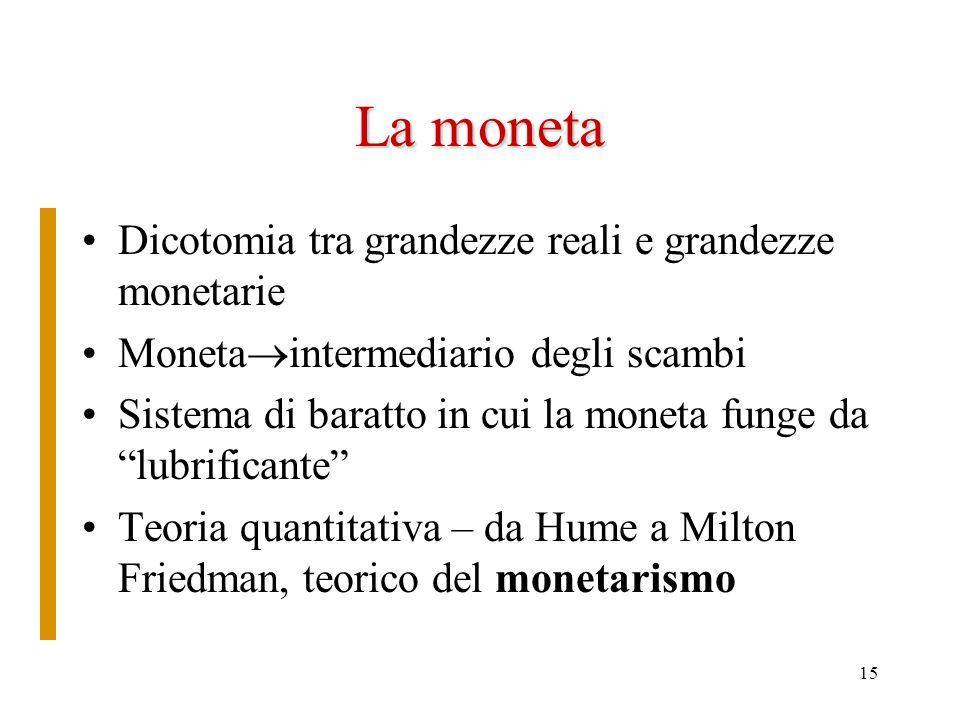 15 La moneta Dicotomia tra grandezze reali e grandezze monetarie Moneta intermediario degli scambi Sistema di baratto in cui la moneta funge da lubrif