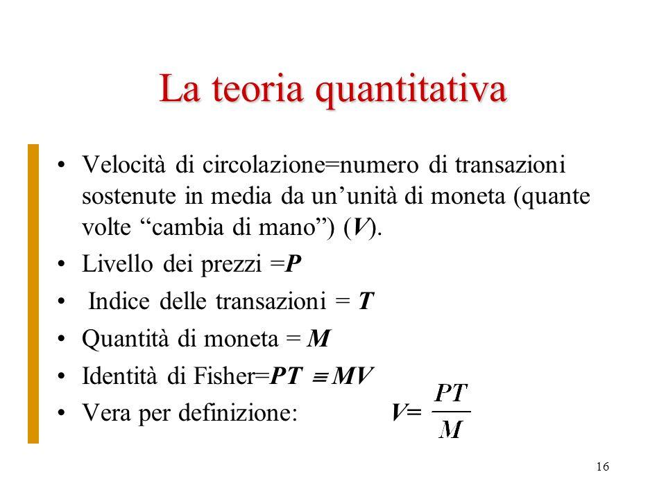 16 La teoria quantitativa Velocità di circolazione=numero di transazioni sostenute in media da ununità di moneta (quante volte cambia di mano) (V). Li