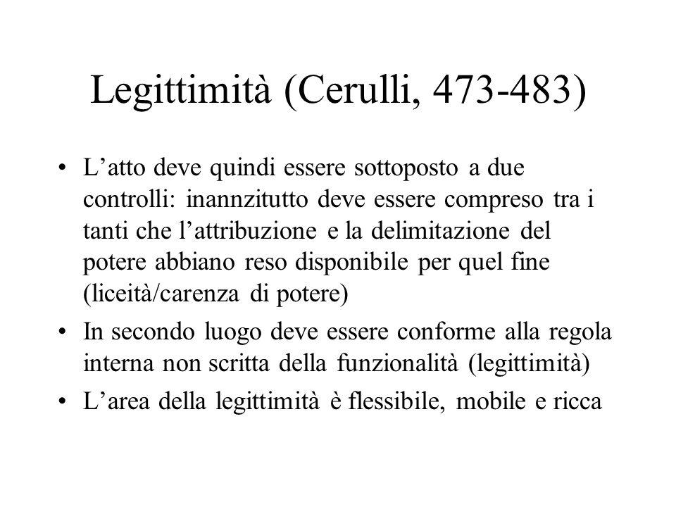 Legittimità (Cerulli, 473-483) Latto deve quindi essere sottoposto a due controlli: inannzitutto deve essere compreso tra i tanti che lattribuzione e