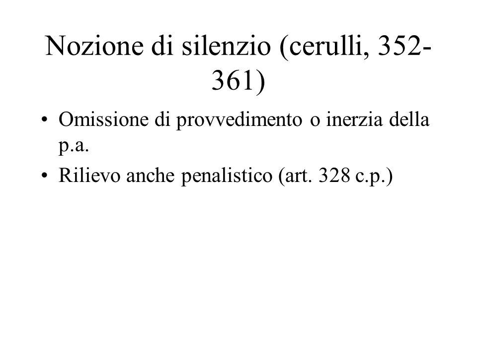 Nozione di silenzio (cerulli, 352- 361) Omissione di provvedimento o inerzia della p.a. Rilievo anche penalistico (art. 328 c.p.)