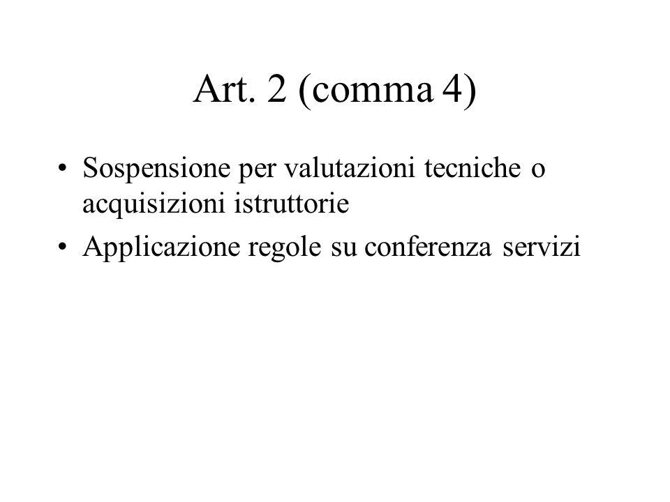 Art. 2 (comma 4) Sospensione per valutazioni tecniche o acquisizioni istruttorie Applicazione regole su conferenza servizi