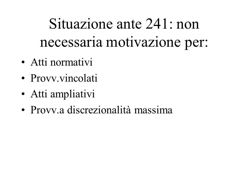 Situazione ante 241: non necessaria motivazione per: Atti normativi Provv.vincolati Atti ampliativi Provv.a discrezionalità massima