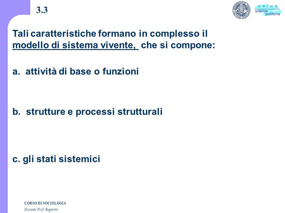 CORSO DI SOCIOLOGIA Docente Prof. Bugarini 3.3 a.
