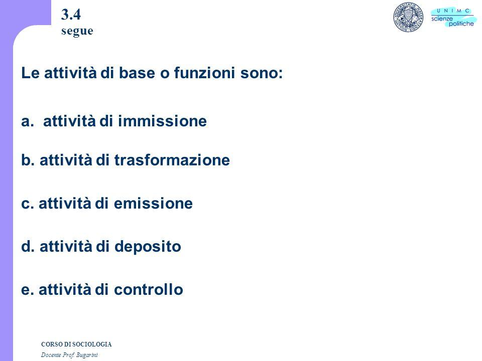 CORSO DI SOCIOLOGIA Docente Prof. Bugarini 3.4 segue a.
