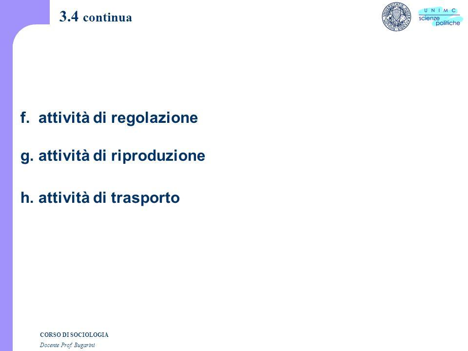 CORSO DI SOCIOLOGIA Docente Prof. Bugarini 3.4 continua f.