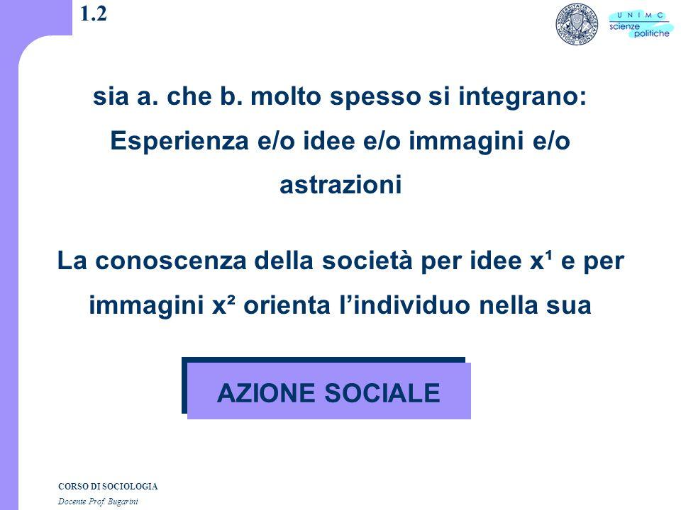 CORSO DI SOCIOLOGIA Docente Prof. Bugarini 1.2 sia a.