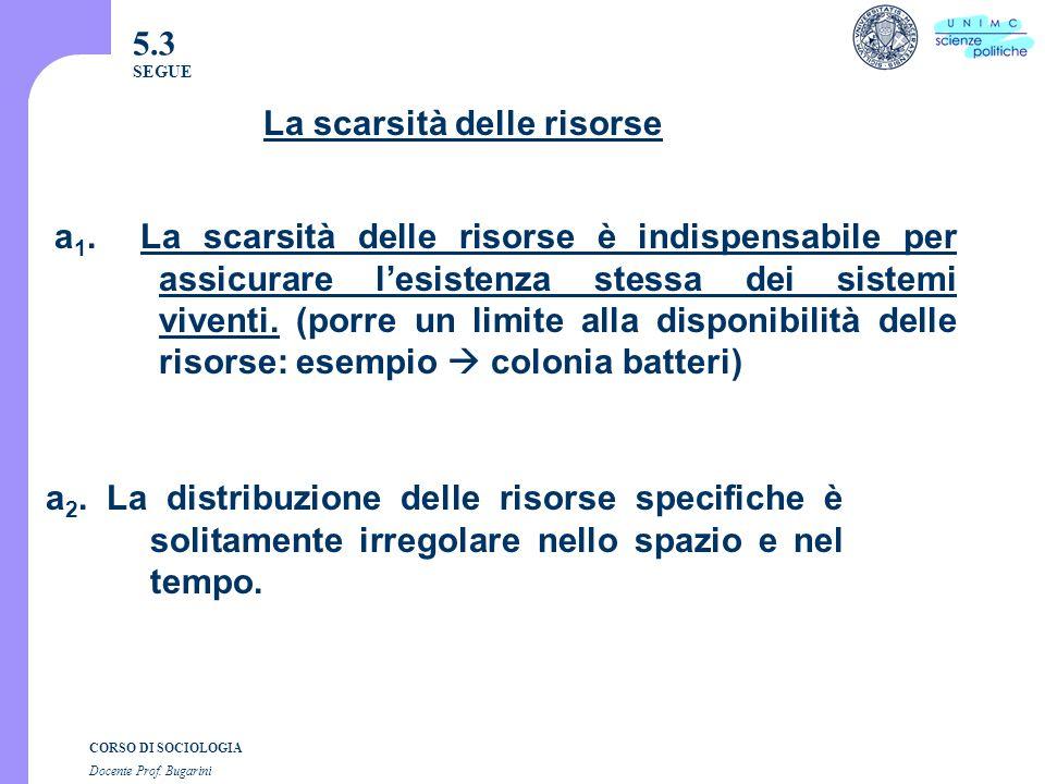 CORSO DI SOCIOLOGIA Docente Prof. Bugarini 5.3 SEGUE a 1.