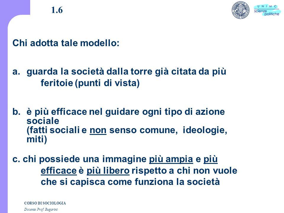 CORSO DI SOCIOLOGIA Docente Prof.Bugarini 3.4 segue a.