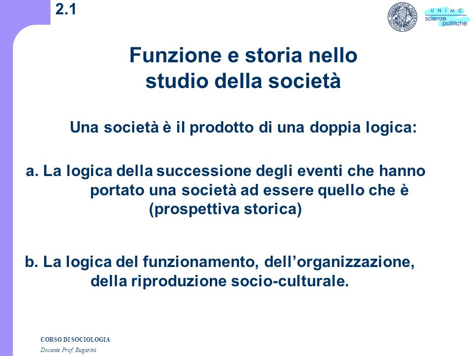CORSO DI SOCIOLOGIA Docente Prof.