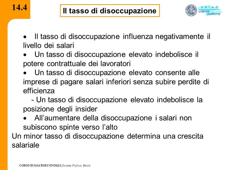 CORSO DI MACROECONOMIA Docente Prof.ssa Bevolo 14.5 Quali variabili.