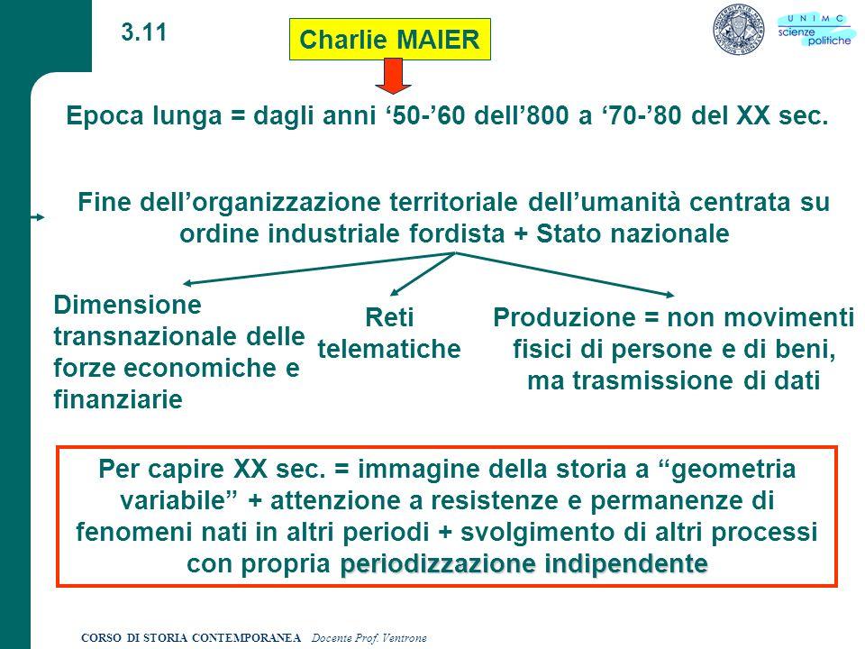 CORSO DI STORIA CONTEMPORANEA Docente Prof. Ventrone 3.11 Charlie MAIER Epoca lunga = dagli anni 50-60 dell800 a 70-80 del XX sec. Fine dellorganizzaz